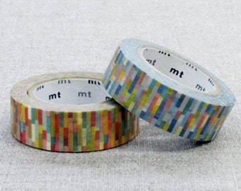 1 DOLLAR SALE - MT 2014 Japanese Washi Masking Tape / Red or Blue Block for scrapbooking, packaging, party deco, card making