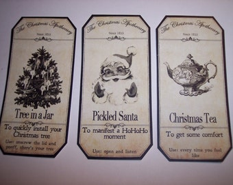 New Large Christmas  Apothecary Labels Set of 15