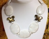 White Agate Polished Brass Butterfly Swarovski Faceted Crystal Cat Eye Toggle Statement Necklace OOAK