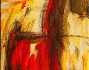 Bold Abstract Brown Gold Red 8 x 10 Original Acrylic Abstract on Stretched Canvas artist Gwen Duda
