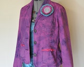 "Violet Small Denim JACKET - Fuchsia Purple Hand Dyed Upcycled Liz Claiborne Jeans Denim Blazer Jacket - Adult Womens Size Small (38"" chest)"