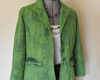 Green Medium Denim JACKET - Kelly Lime Green Hand Dyed Upcycled Vertigo Denim Blazer Jacket - Adult Womens Size Medium (40 chest)