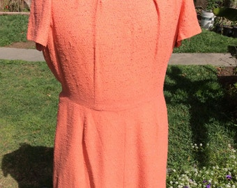 Vintage 1960's plus size peach dress xxl xl VLV