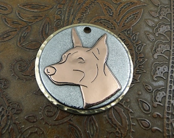 Doberman ID Tag-Pet ID Tag-Handmade Dog Collar ID Tag-Pendant or Keychain Fob