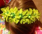 ST PATTYS Shamrock Green Daisy Floral Crown Headband