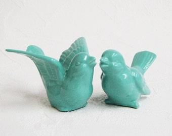 Ceramic Love Bird Cake Toppers Handmade Wedding Keepsake Figurines in Turquoise Blue - Made to Order