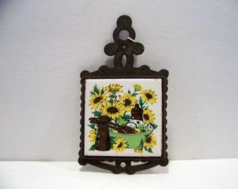 Vintage Cast Iron  and Tile Sunflower Trivet Hot Pad Pot Holder