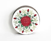 Vintage Tin,  Red Rose Shabby Cottage Retro Kitchen