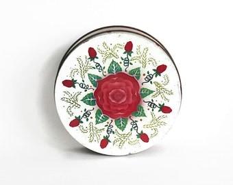 Vintage Tin,  Red Rose Shabby Cottage Retro Kitchen