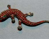 Vintage / Brooch / Lizard / Red / Rhinestones / Old Jewellery Jewelry /