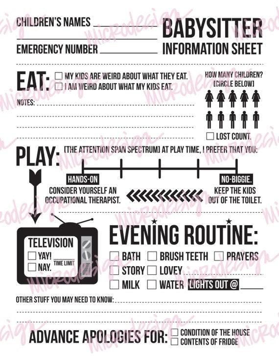 instant downloadable babysitter information sheet for