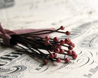 "24 gauge handmade headpins - ""Red Baneberry"" - black copper 24ga wire, 1mm round ball, 2"" long, dark rose pink (25 head pins) Marsala red"