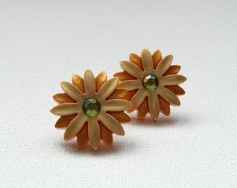 ns-Yellow and Gold Flower with Rhinestone Center Earrings with Gold Plated Posts
