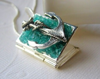 Anchor Locket, Book Locket, Anchor Necklace, Locket Jewelry, Stained Glass Locket, Nautical Necklace, Photo Locket