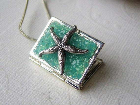 Starfish Locket, Book Locket, Starfish Necklace, Locket Jewelry, Stained Glass Locket, Seastar Necklace