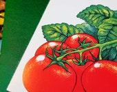 8 vegetable greeting cards, detailed pencil drawings, greeting Happy Gardening