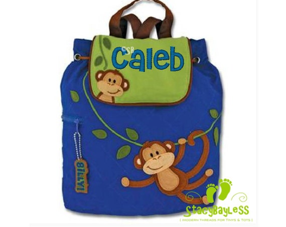 SHIPS SAME DAY-- Monkey Quilted Back Pack or Diaper Bag in Blue and Green - Includes Free Personalization
