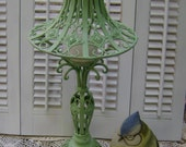 Jade Green Metal Lamp Candle Holder w/Candle - French Country - Shabby -Ornate Metal Work