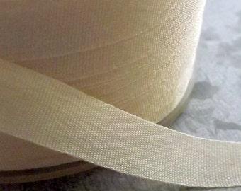 Silk Ribbon Ivory 1/4 inch 2 Yards 100% Silk