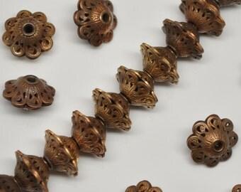 13 mm Brass Vintage Filigree Rondelle Beads 6 Pieces