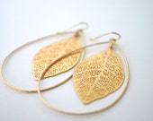 Large Gold Leaf Earrings, Gold Statement Earrings, Gold Leaf Earrings, Large Teardrop Earrings, Gold Filigree Earrings