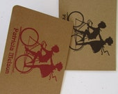 Rustic Personalized Bicycle Kraft Cards - Personalized Gift - A Bicycle for Two  - Set of 6 cards and 6 envelopes
