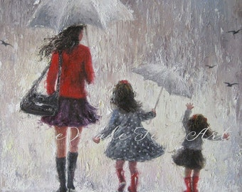 Mother and Two Daughters Art Print, two girls, mothers day gift, rain girls, wall art, two sisters, umbrellas, red, mom, Vickie Wade art