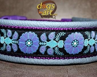 """Dog Collar """"Heart Flower"""" by dogs-art, dog collar leather, floral dog collar, boy dog collar, girl dog collar, dog collar flower, collar"""