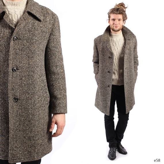 Vintage Tweed Coat . Mens Coat . Herringbone Tweed Winter Coat