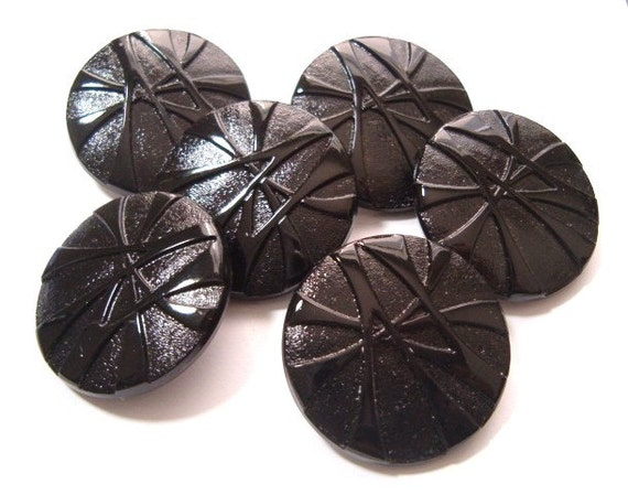 6 Vintage Black Glass Buttons Big Buttons Set 32mm Great Set of Large Buttons