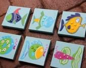Fish 6-piece art for kids bath or nursery
