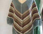 Crochet Poncho shawl in Grey