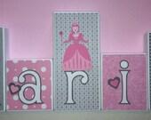 Personalized Wood Blocks - M2M Grey & Pink Princess bedding - Baby Room Custom Name Block Letters - Baby Letter Blocks