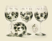 Wedding Song Wine Glasses, You Choose Words - Hand Painted Silver and Black Roses, Set of 4 - Custom Painted Wine Glasses 25th Anniversary