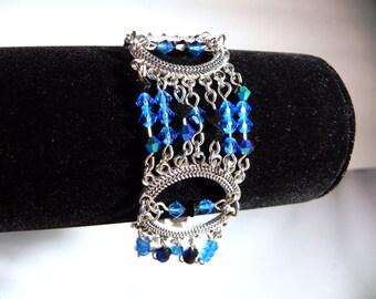 Bracelet Silver Crescent Tribal Belly Dance Bracelet