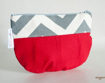 Gray Chevron with Red make up bag