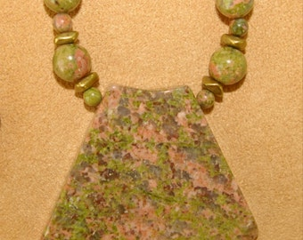 Unakite Necklace, Mossy Green, Shades of Pink  Vintage Late 1970's 1980's