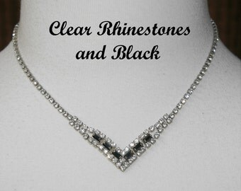 Black and Clear Rhinestone Necklace, Formal Wear,  Vintage 1970's