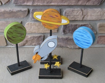 Rocket Ship and Planet Blocks on Stands for Space themed decor, Boy Room decor, Teacher gift, desk, shelf and home decor