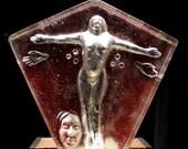 Glass Art Yoga Figure Sculpture, Rise and Shine, Nude Goddess Spiritual Figurine Prism Optical Suncatcher Magenta Red Open Arms
