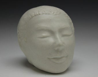 Buddha Head Sculpture, White Porcelain Portrait Bust in Meditation, Figure Art