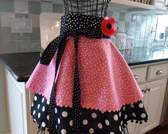 Bubble Gum Pink ~ Annabelle Apron ~  Half Women's Retro Modern Apron ~ 4RetroSisters