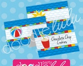 Pool Party Table Tents - Food Table Buffet Cards - Pool Party Printables - DIY Party Decor - PRiNTABLE, EDiTABLE, INSTANT DOWNLOAD