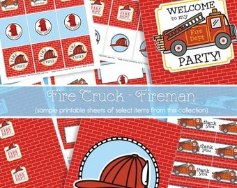 Firetruck Birthday Decorations - Fire Truck Party Printables - Firefighter Birthday - Fireman 1st Birthday - PRINTABLE - INSTANT DOWNLOAD