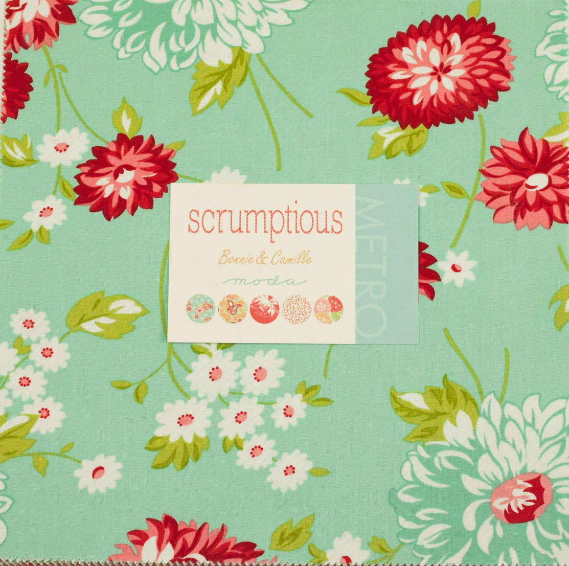 Scrumptious Layer Cake Moda Modern Quilt Fabric Aqua Red