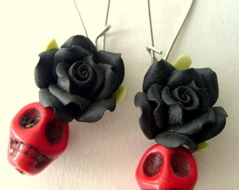 Day of the dead earrings, Black flower and red skull, Halloween Jewelry, Dia de los muertos