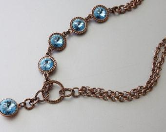 Swarovski Rivoli Necklace, Lariat Style, Antique Copper Chain Necklace, Aquamarine Rivoli Crystals Necklace