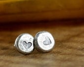 valentines Day Heart Post Earrings - Stud - Eco Friendly - Rustic Autumn Sterling Silver Recycled