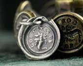 God Gives Us Wax Seal Charm Necklace, Abundance, Sterling Silver Handmade