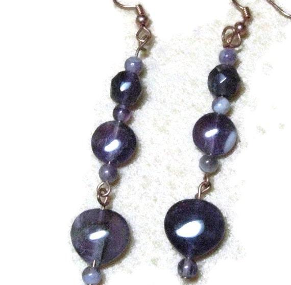 Purple Amethyst Earrings, Gemstone Amethyst Copper Dangle Earrings
